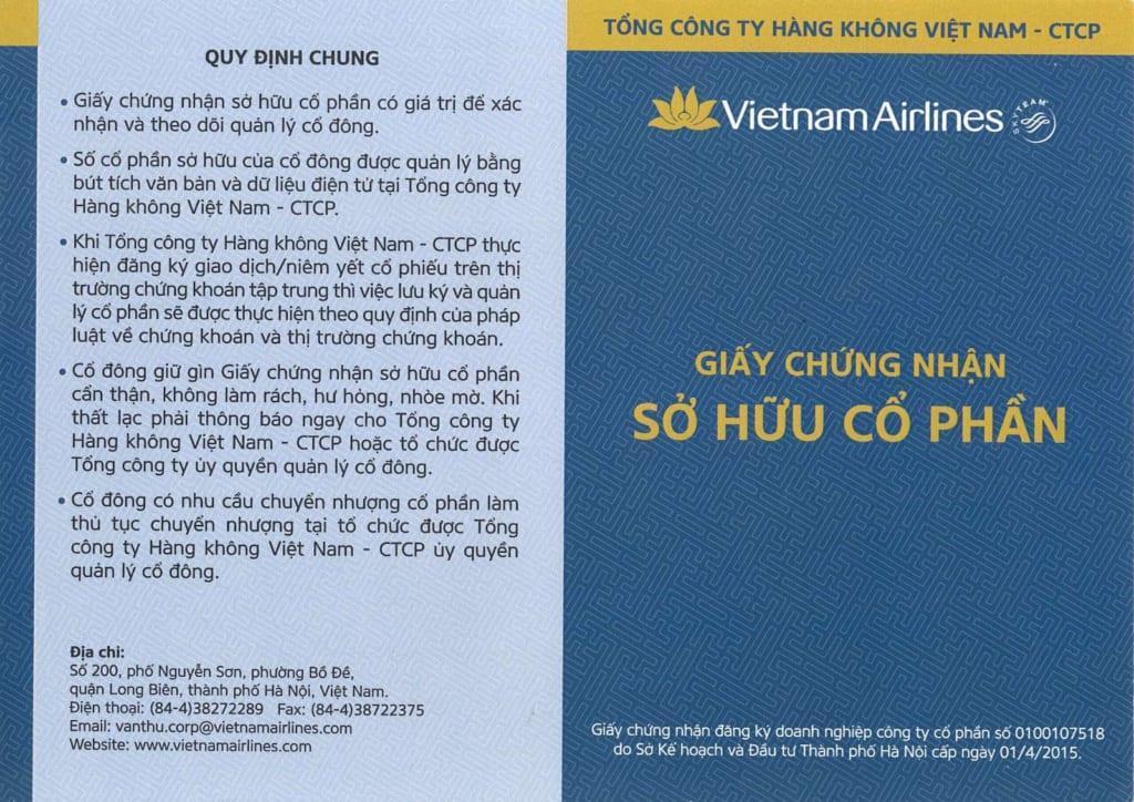 Giấy chứng nhận sở hữu cổ phần HVN - Chứng khoán chưa lưu ký